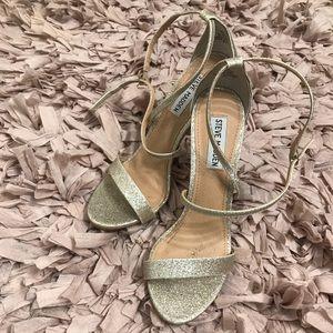 Steve Madden Feliz Gold Glitter Strappy Heels